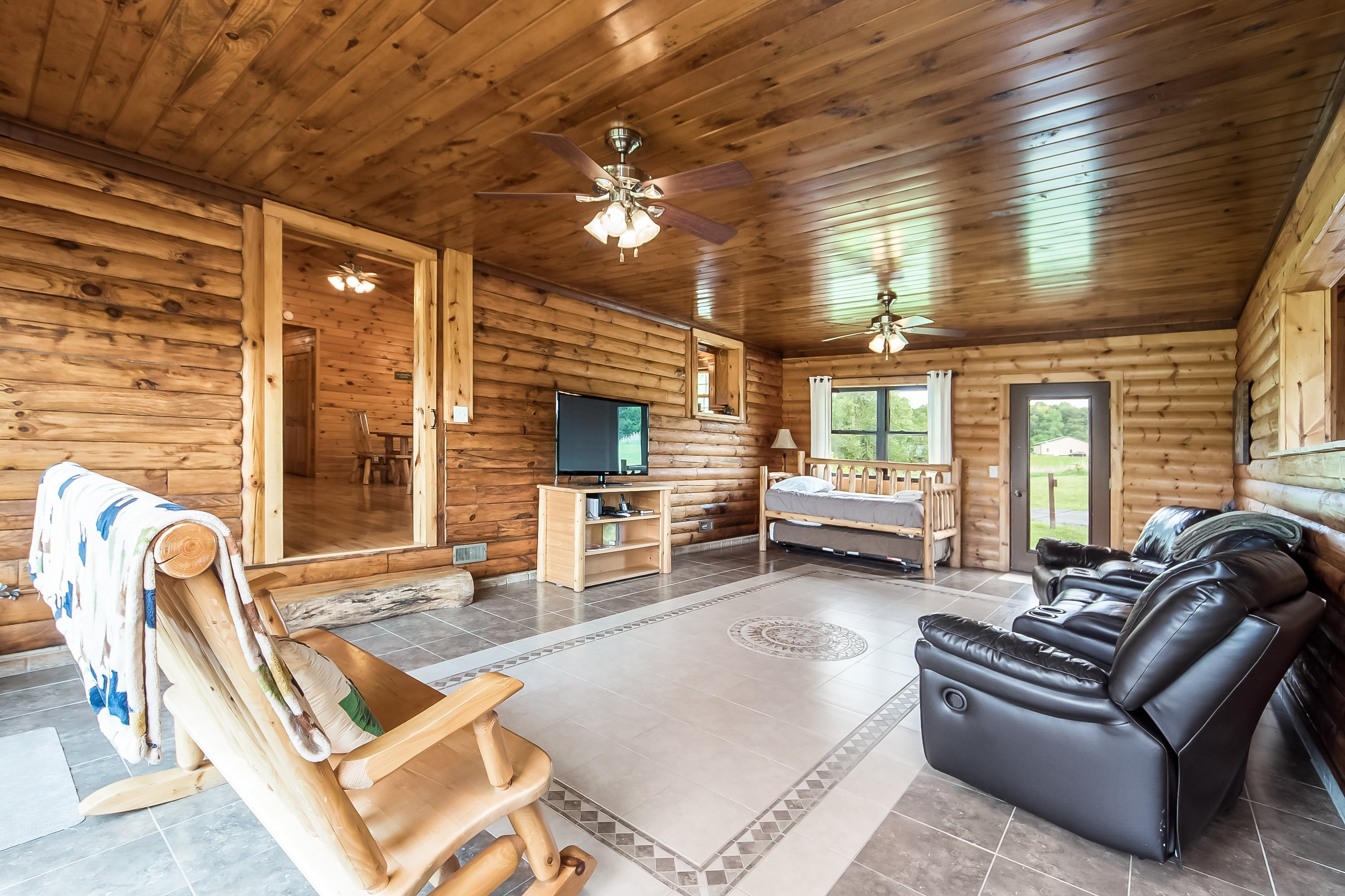 Man boy family cabin retreat